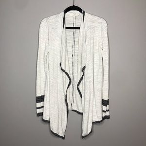 LOFT Open Front gray stripe cuff cardigan size M